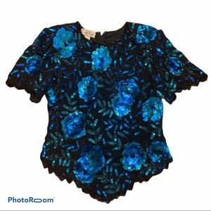 LAWRENCE KOZAR Beaded Sequined Blue Rose Silk Top